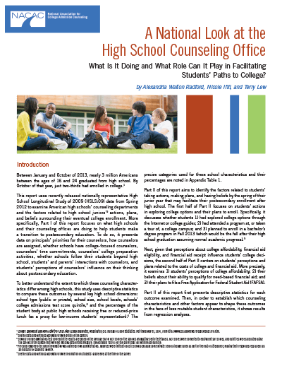 A National Look at the High School Counseling Office